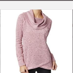 Ideology Pink Heathered Cowl Neck Sweater Sz Small